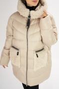 Оптом Куртка зимняя big size бежевого цвета 72180B в Екатеринбурге, фото 10