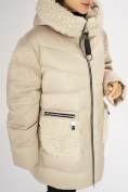 Оптом Куртка зимняя big size бежевого цвета 72180B в Екатеринбурге, фото 11