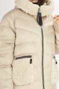 Оптом Куртка зимняя big size бежевого цвета 72180B в Екатеринбурге, фото 9