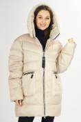 Оптом Куртка зимняя big size бежевого цвета 72180B в Екатеринбурге
