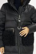 Оптом Куртка зимняя big size черного цвета 72180Ch в Екатеринбурге, фото 10