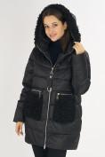 Оптом Куртка зимняя big size черного цвета 72180Ch в Екатеринбурге