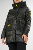 Оптом Куртка зимняя болотного цвета 7501Bt в Екатеринбурге, фото 18