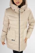 Оптом Куртка зимняя big size бежевого цвета 7519B в Екатеринбурге, фото 10