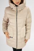 Оптом Куртка зимняя big size бежевого цвета 7519B в Екатеринбурге, фото 11