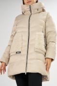 Оптом Куртка зимняя big size бежевого цвета 7519B в Екатеринбурге, фото 12