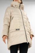 Оптом Куртка зимняя big size бежевого цвета 7519B в Екатеринбурге, фото 13