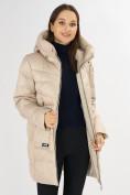 Оптом Куртка зимняя big size бежевого цвета 7519B в Екатеринбурге, фото 15