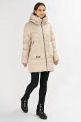 Оптом Куртка зимняя big size бежевого цвета 7519B в Екатеринбурге, фото 2