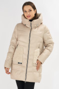 Оптом Куртка зимняя big size бежевого цвета 7519B в Екатеринбурге, фото 24