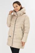 Оптом Куртка зимняя big size бежевого цвета 7519B в Екатеринбурге, фото 25
