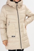 Оптом Куртка зимняя big size бежевого цвета 7519B в Екатеринбурге, фото 26