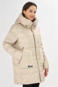 Оптом Куртка зимняя big size бежевого цвета 7519B в Екатеринбурге, фото 27