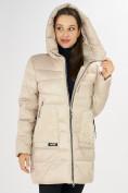 Оптом Куртка зимняя big size бежевого цвета 7519B в Екатеринбурге, фото 28
