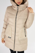 Оптом Куртка зимняя big size бежевого цвета 7519B в Екатеринбурге, фото 30