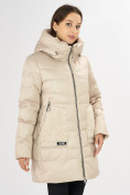 Оптом Куртка зимняя big size бежевого цвета 7519B в Екатеринбурге, фото 4