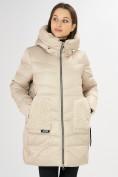 Оптом Куртка зимняя big size бежевого цвета 7519B в Екатеринбурге, фото 5