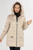 Оптом Куртка зимняя big size бежевого цвета 7519B в Екатеринбурге, фото 6