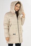 Оптом Куртка зимняя big size бежевого цвета 7519B в Екатеринбурге, фото 7