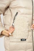 Оптом Куртка зимняя big size бежевого цвета 7519B в Екатеринбурге, фото 8