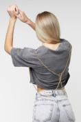 Оптом Топ футболка женская серого цвета 76007Sr в Екатеринбурге, фото 7