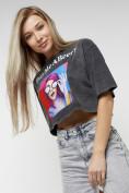 Оптом Топ футболка женская серого цвета 76010Sr в Екатеринбурге, фото 4