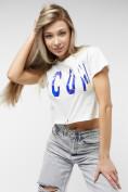Оптом Топ футболка женская белого цвета 76014Bl в Екатеринбурге