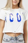 Оптом Топ футболка женская белого цвета 76014Bl в Екатеринбурге, фото 2