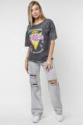 Оптом Женские футболки с принтом серого цвета 76015Sr в Екатеринбурге, фото 5