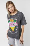 Оптом Женские футболки с принтом серого цвета 76015Sr в Екатеринбурге, фото 8