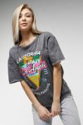 Оптом Женские футболки с принтом серого цвета 76015Sr в Екатеринбурге