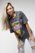 Оптом Женские футболки с принтом серого цвета 76015Sr в Екатеринбурге, фото 9