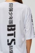 Оптом Женские футболки с надписями белого цвета 76017Bl, фото 4