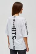 Оптом Женские футболки с надписями белого цвета 76017Bl, фото 5