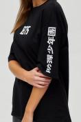 Оптом Женские футболки с надписями черного цвета 76017Ch, фото 4
