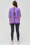 Оптом Женские футболки с надписями фиолетового цвета 76017F в Екатеринбурге, фото 2