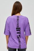 Оптом Женские футболки с надписями фиолетового цвета 76017F в Екатеринбурге, фото 4