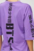 Оптом Женские футболки с надписями фиолетового цвета 76017F в Екатеринбурге, фото 5