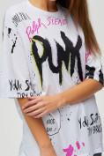 Оптом Женские футболки с принтом белого цвета 76024Bl, фото 5