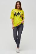 Оптом Женские футболки с принтом желтого цвета 76024J