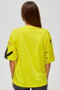 Оптом Женские футболки с принтом желтого цвета 76024J, фото 5