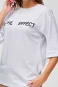 Оптом Женские футболки с надписями белого цвета 76025Bl, фото 3