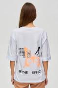 Оптом Женские футболки с надписями белого цвета 76025Bl, фото 5