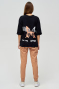 Оптом Женские футболки с надписями черного цвета 76025Ch, фото 2
