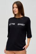Оптом Женские футболки с надписями черного цвета 76025Ch, фото 3
