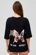 Оптом Женские футболки с надписями черного цвета 76025Ch, фото 4