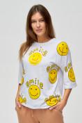Оптом Женские футболки с надписями белого цвета 76028Bl в Казани, фото 3