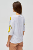 Оптом Женские футболки с надписями белого цвета 76028Bl в Казани, фото 4