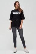 Оптом Женские футболки с надписями черного цвета 76029Ch