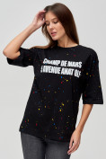 Оптом Женские футболки с надписями черного цвета 76029Ch, фото 4